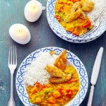 Gele curry met rode linzen